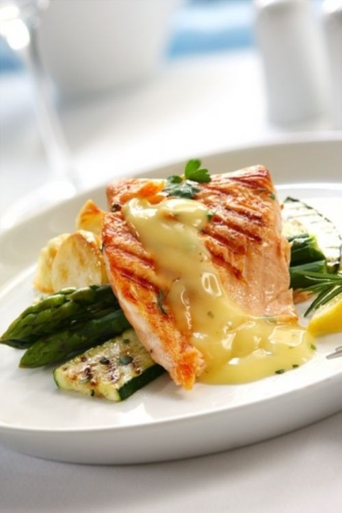 Grilled Salmon with Lemon and Herb Butter Sauce