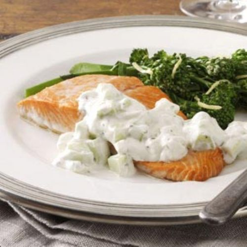 Salmon with Cucumber Sauce