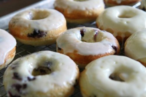 Blueberry Donuts with a Lemon Glaze