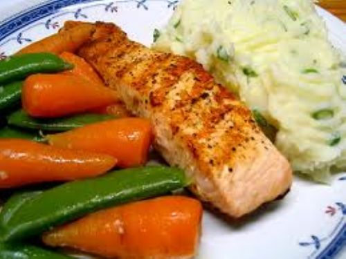 salmon with spring onion mash