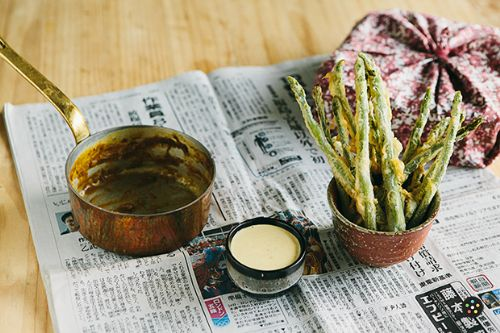 Asparagus Fries with Curry-Mayo Dip