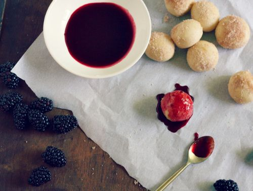 Baked Donuts w/ Blackberry Sauce