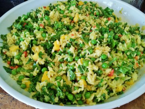 Curried Garlic Coconut Rice Salad