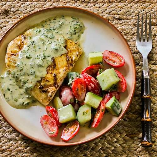 Grilled Halibut with Basil Vinaigrette