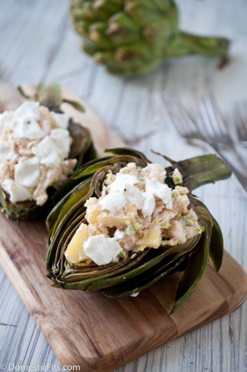 Grilled Artichokes with Crab Filling