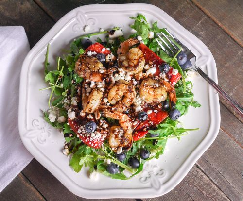 Grilled Shrimp and Watermelon Salad with Arugula