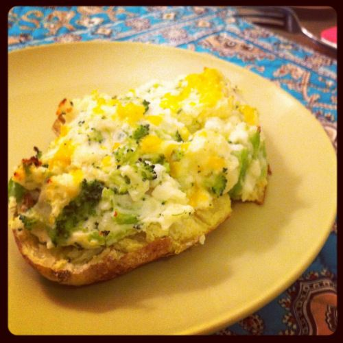 Broccoli Cheddar Twice Baked Potatoes, made with G
