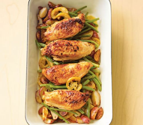 Pan Roasted Chicken with Lemon Garlic Green Beans