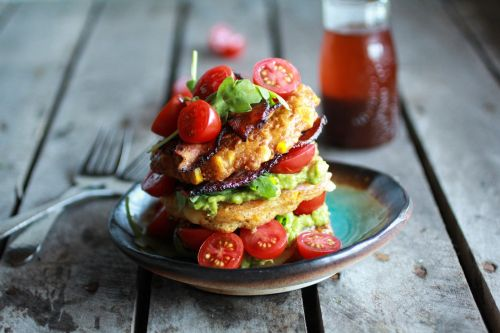 BLT Corn Fritter Stacks
