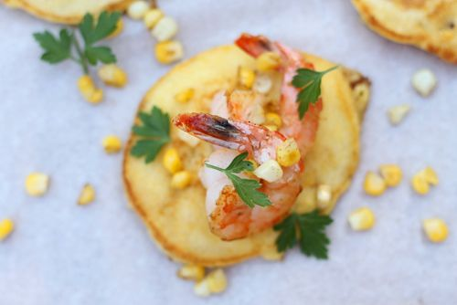 Corn Cakes with Sautéed Shrimp and Tequila Lime