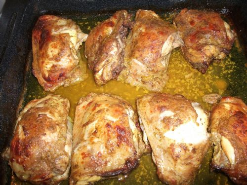 Roast Chicken Thighs (marinated in yogurt)