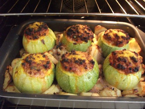 Baked Stuffed Marrows with Roast Potatoes