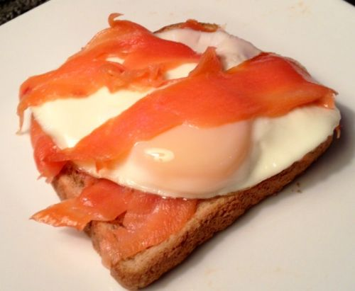 Open-faced Salmon and Egg Sandwich