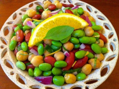 Basil Orange Edamame and Bean Salad