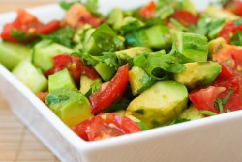 Tomato Salad with Cucumber, Avocado, Cilantro, and