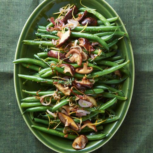 Green Beans with Shallots, Thyme, and Shiitake Mus
