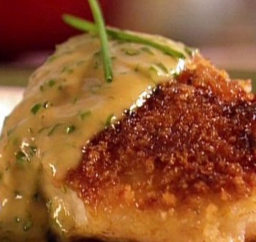 Seared cod with chive butter sauce