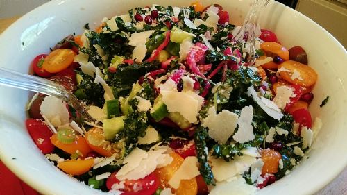 Kale Salad w/ Kidney Beans, Berries, Walnuts, Parm