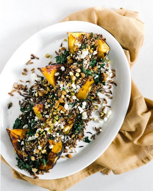 Acorn Squash with Wild Rice Pistachio