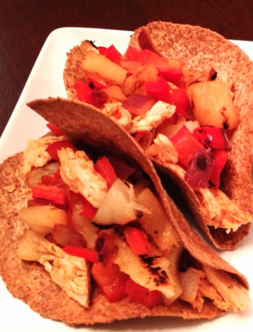Sriracha Spiced Pineapple Pepper Chicken Tacos