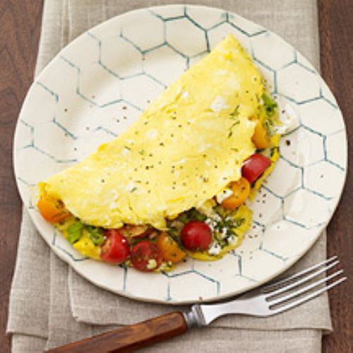 Feta, Dill, and Grape Tomato Omelet