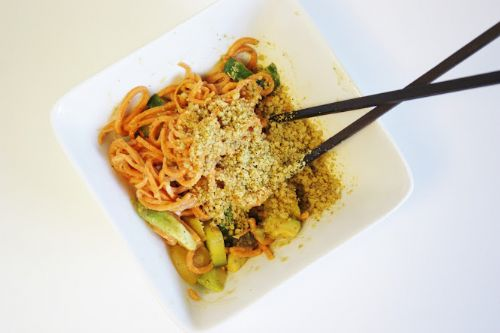 Yam Noodles with Miso Mustard Sauce