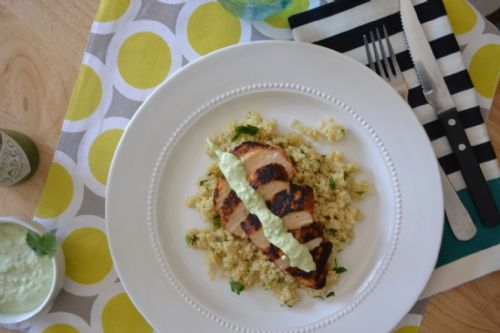 Blackened Chicken with Quinoa and Avocado Sauce