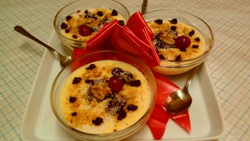 Custard with blueberry filling