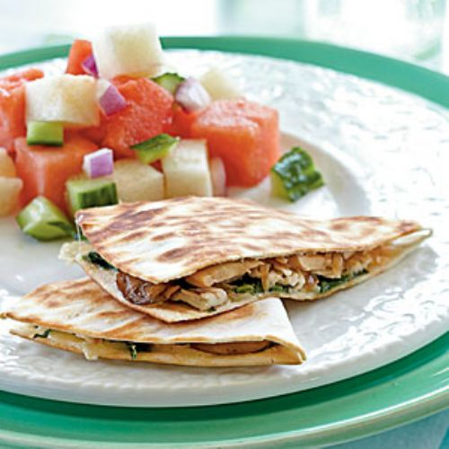 Chicken, Mushroom, and Gruyere Quesadillas