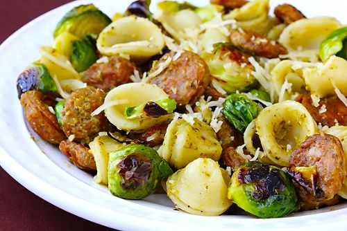 Pesto Pasta with Chicken Sausage, Roasted Sprouts