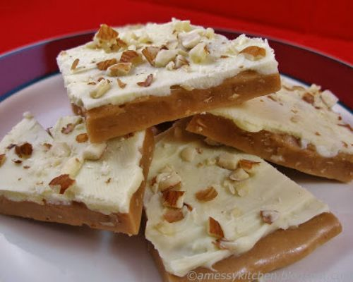 Orange Scented White Choco Toffee with Almonds