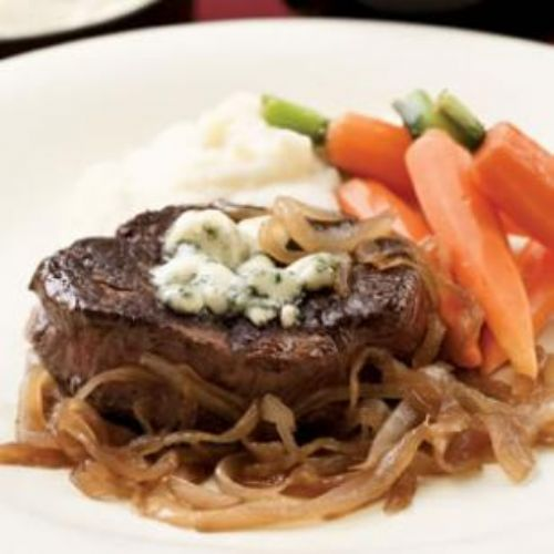 Seared Steaks, Caramelized Onions and Gorgonzola
