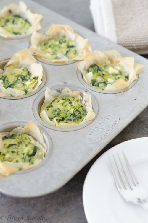 Zucchini Spinach and Feta Phyllo Bites