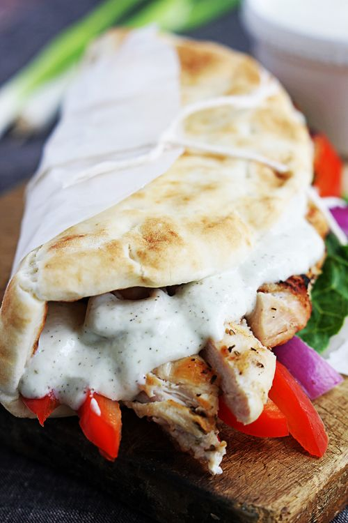 Easy Chicken Gryos and tzatziki sauce