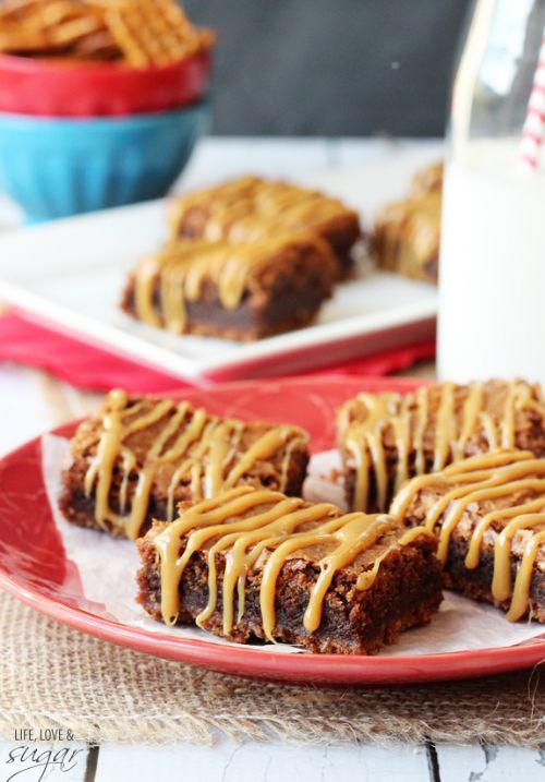 Nutella Caramel Pretzel Brownies