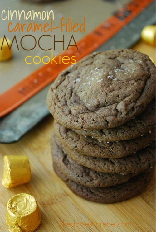 Cinnamon Caramel Filled Mocha Cookies