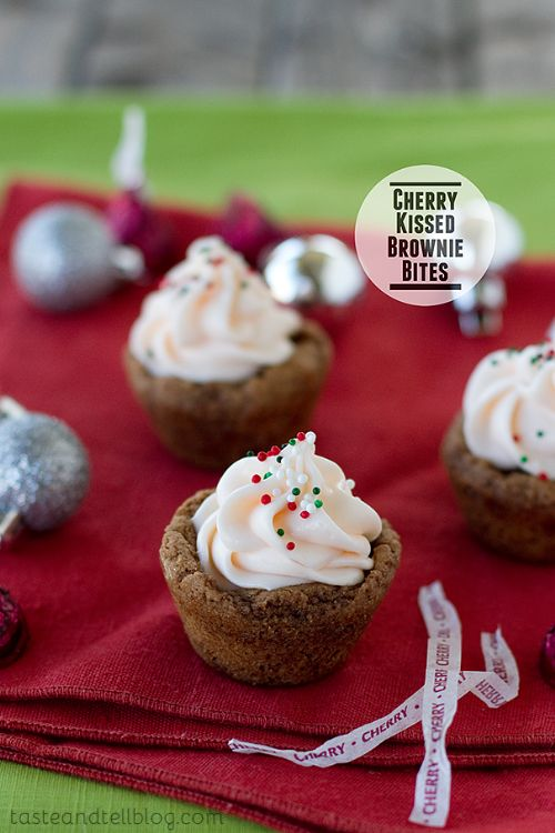 Cherry Kissed Brownie Bites