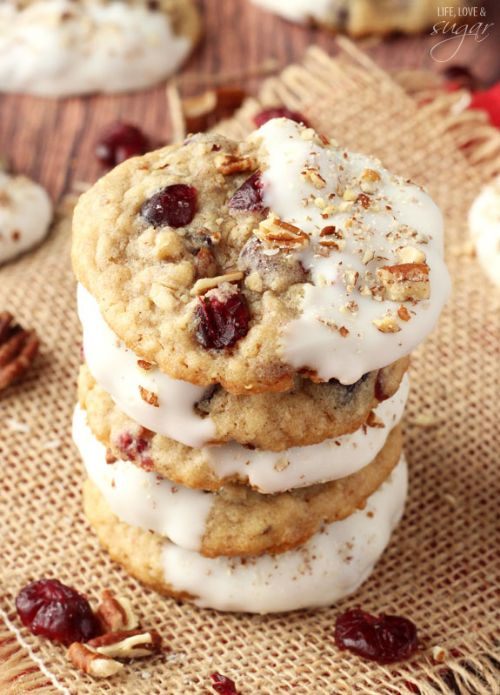 White Choco Dipped Cranberry Pecan Oatmeal Cookies