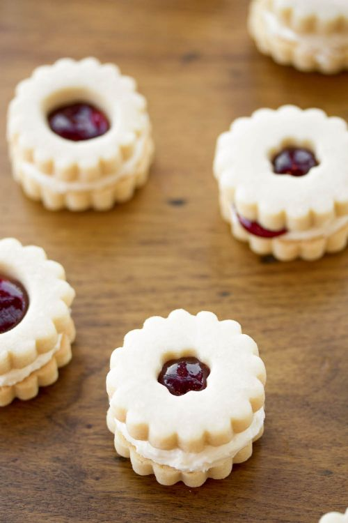 Raspberry Cream Shortbread Sandwich Cookies