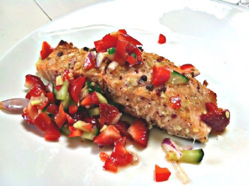 Grilled Salmon with Strawberry-Cucumber Salsa