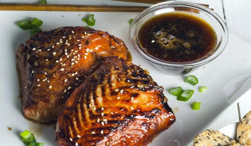 Carmelized Garlic and Miso Salmon