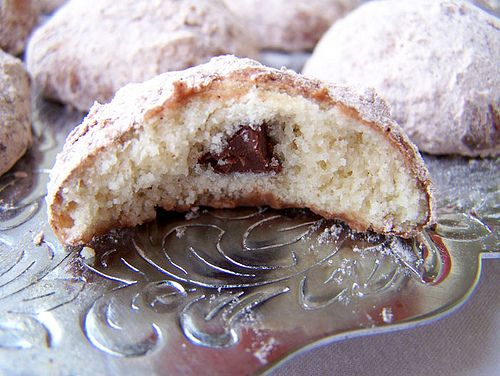 Chocolate Filled Mexican Wedding Cookies