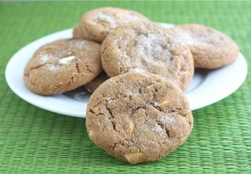 Soft Gingersnap Cookies with White Choco Chunks