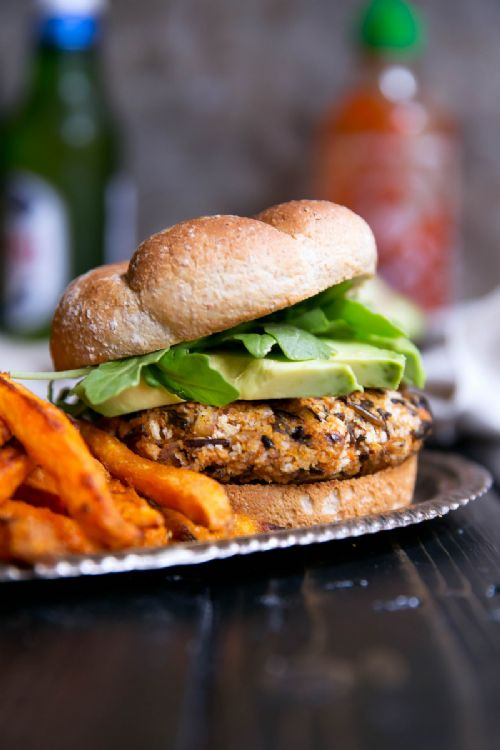 Vegan Curry-Spiced Sweet Potato & Wild Rice Burger
