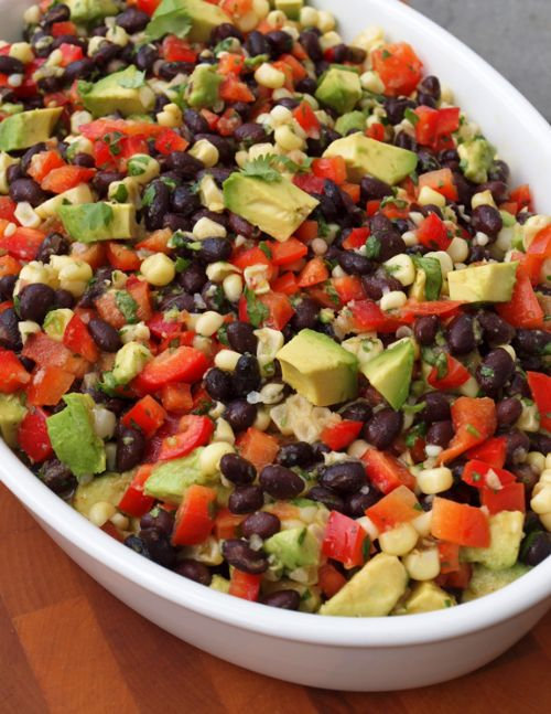Black Bean Salad with Corn, Red Peppers and Avocad