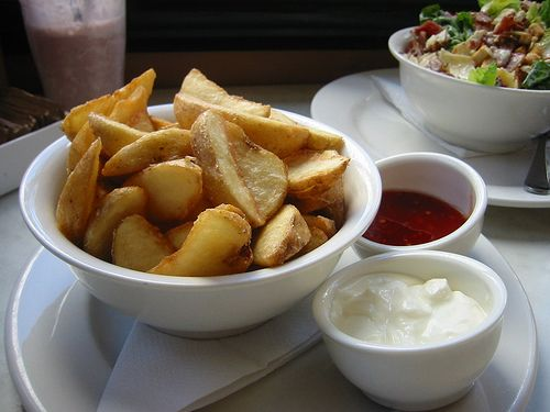 Potato Wedges and Sour Cream