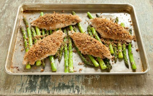 Oven-Roasted Pecan Crunch Catfish and Asparagus