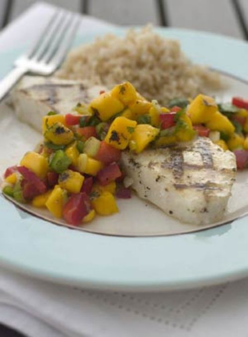 Chilean Sea Bass with Grilled Mango Salsa