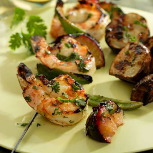 Cilantro-Lime Shrimp and Plum Kebabs
