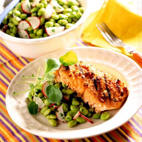 Miso-Glazed Salmon with Edamame Salad Recipe